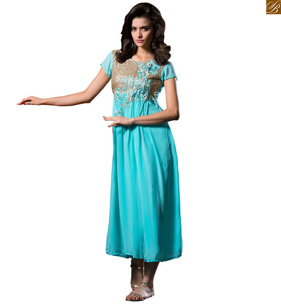 Designer party wear long kurtis georgette embroidered top its time to inspire the audience in our sky-blue georgette sequence worked on neck line at kurti Image