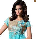Exclusive designer party wear long kurtis having georgette embroidered sleevelss top giving it a cool look its time to inspire the audience in our sky-blue georgette sequence worked on neck line at kurti Photo