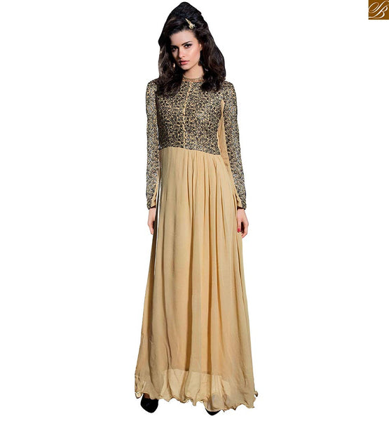 Latest designs of long kurtis pattern of designer cut sleeves beige georgette different cut style kurti having embroidered and sequence work at neck line and sleeves Image