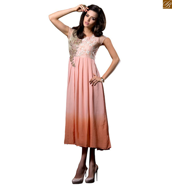 Party wear designer long kurtis online india for college girls dusty-pink georgette heavy floral embroidered kurti with and embroidery work on deep neck line Image