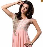 Dusty-pink georgette heavy floral embroidered kurti with and embroidery work on deep neck line Photo