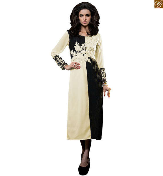 Stylish kurti pattern with heavy embroidery designer indian wear black and off-white georgette amazing color combination heavy floral embroidered kurti with long sleeves Image