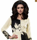 Black and off-white georgette amazing color combination heavy floral embroidered kurti with long sleeves Photo