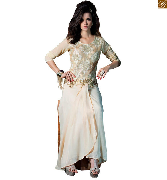 Designer party-wear long kurtis online india desi fashion dress cream georgette silver color heavy floral embroidered work on kurti with three fourth type sleeves Image