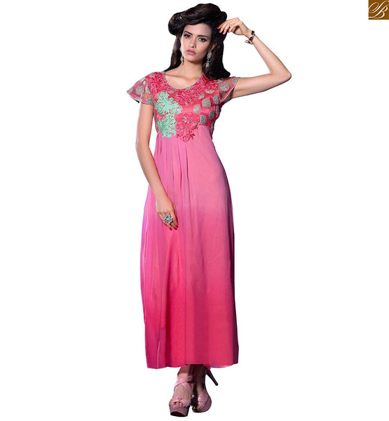 Kurti style frocks design loose and long ethnic indian wear pink georgette cap type amazing looking sleeve on kurti with heavy floral embroidery on neck line Image