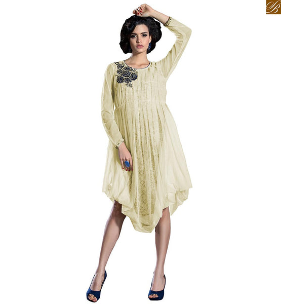 Latest kurti designs of high low length shaped stylish top off-white soft-net rose embroidery patch work at neck line on kurti with blue color piping on neck line Image