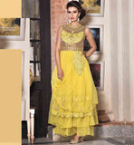 GOWN ONLINE SALE INDIA YELLOW NET FASHIONABLE WITH CASH ON DELIVERY