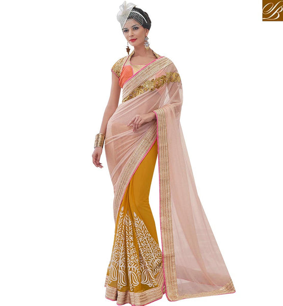 STYLISH BAZAAR MUSTARD AND PEACH NET HALF N HALF SAREE WITH MODERN STYLE MHFLD8902