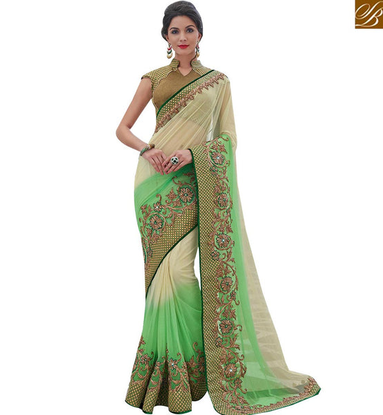 STYLISH BAZAAR SHOP ELEGANT GREEN AND BEIGE SHADED NET DESIGNER SAREE FROM STYLISH BAZAAR MHFLD8903