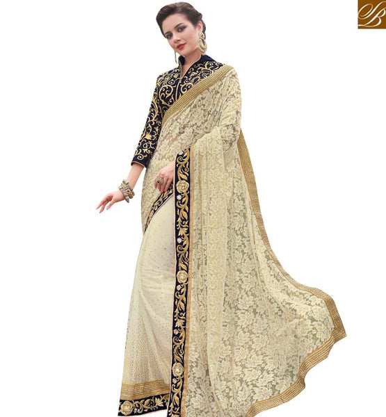 STYLISH BAZAAR ATTRACTING CREAM NET SAREE WITH GORGEOUS BORDER HAVING BLOOMING JARI EMBROIDERY MHFLD8905