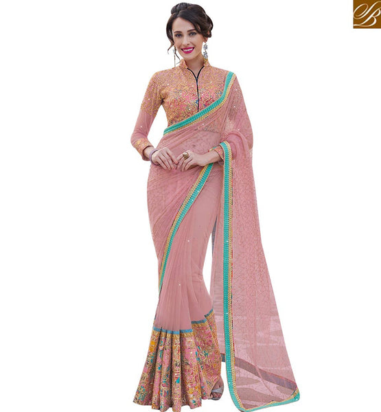 STYLISH BAZAAR STYLISH PEACH NET DESIGNER SAREE WITH HEAVY EMBROIDERED BLOUSE MHFLD8906
