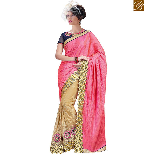 STYLISH BAZAAR PLEASING BEIGE AND PINK NET SILK HALF N HALF DESIGNER SAREE WITH EMBROIDERED ON BORDER MHFLD8907