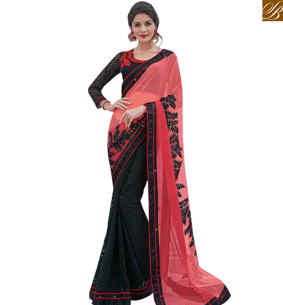 STYLISH BAZAAR BEAUTIFUL BLACK AND RED BRASSO NET EMBROIDERED SAREE WITH FULL SLEEVES BLOUSE MHFLD8908