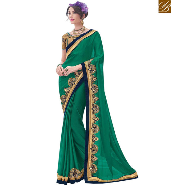 STYLISH BAZAAR ARTISTIC GREEN SATIN CHIFFON DESIGNER SAREE WITH LACE WORK ON BORDER