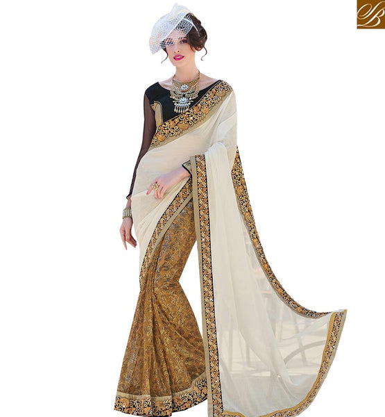 STYLISH BAZAAR APPEALING BEIGE AND OFF WHITE NET EMBROIDERED SAREE WITH BLACK SILK BLOUSE MHFLD8910