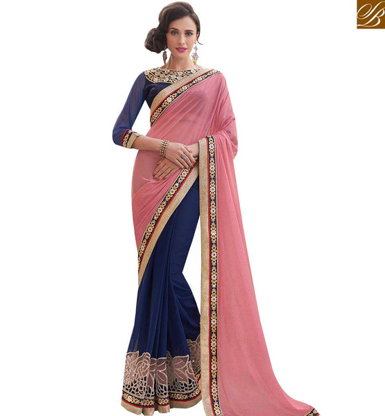 STYLISH BAZAAR FABULOUS NAVY BLUE AND PEACH DESIGNER HALF N HALF SAREE MHFLD8912