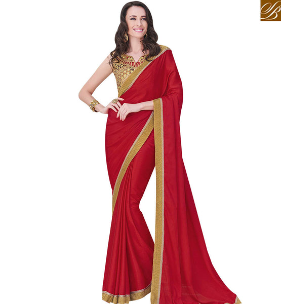 STYLISH BAZAAR ATTRACTING RED COLOUR PLAIN DESIGNER SAREE WITH LACE WORK ON BORDER AND ANTIQUE GOLD PLANTED BLOUSE MHFLD8913