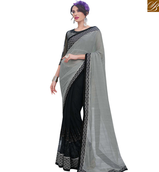 STYLISH BAZAAR GREY AND BLACK CHIFFON NET UNIQUE DESIGNER SAREE WITH SEQUINS MHFLD8914