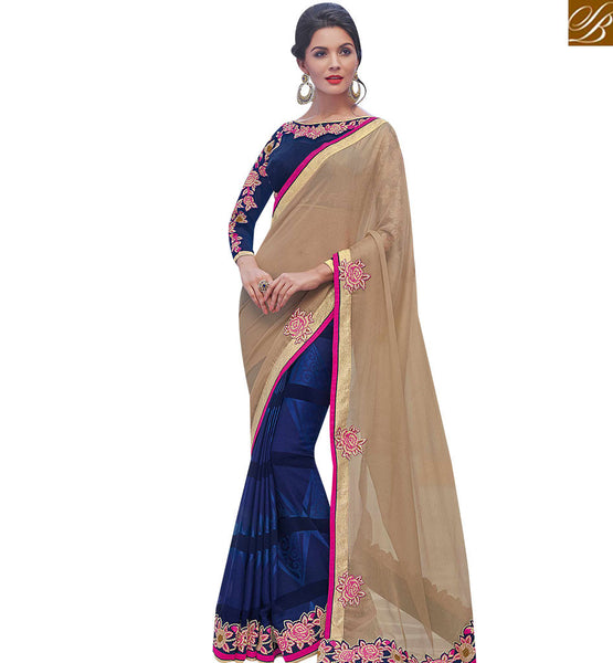 STYLISH BAZAAR SPLENDID BEIGE AND NAVY BLUE SATIN CHIFFIN HALF N HALF DESIGNER SAREE WITH EMBROIDERED BLOUSE MHFLD8915