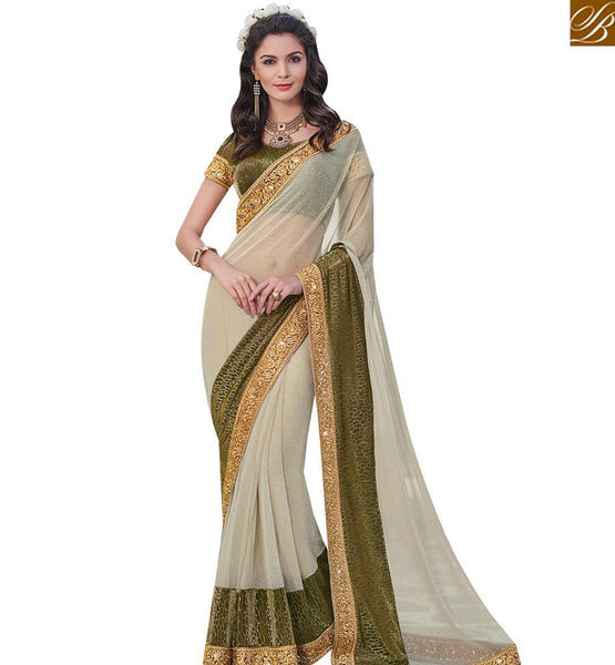 STYLISH BAZAAR LOVELY CREAM LYCRA AND MEHENDY GREEN DESIGNER SAREE MHFLD8916