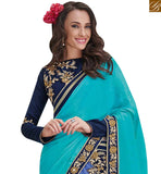 FROM STYLISH BAZAAR BLUE AND SKY BLUE NET SATIN CHIFFON SAREE WITH STYLISH FULL SLEEVES BLOUSE MHFLD8917