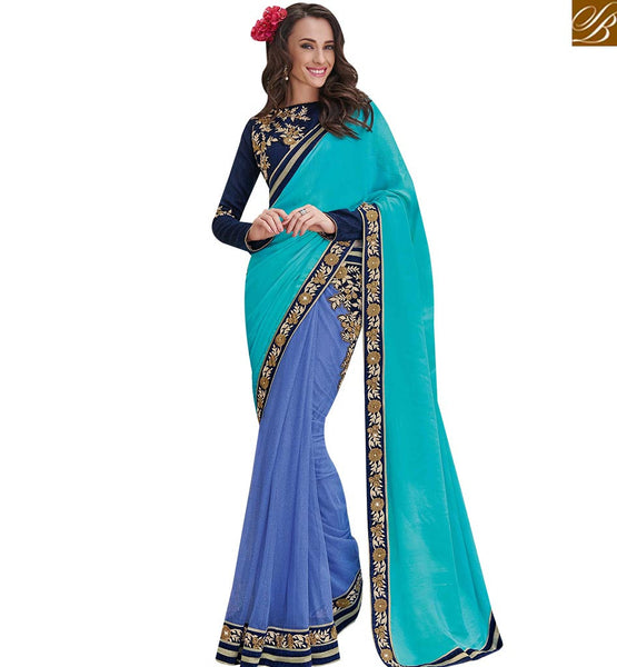 STYLISH BAZAAR BLUE AND SKY BLUE NET SATIN CHIFFON SAREE WITH STYLISH FULL SLEEVES BLOUSE MHFLD8917