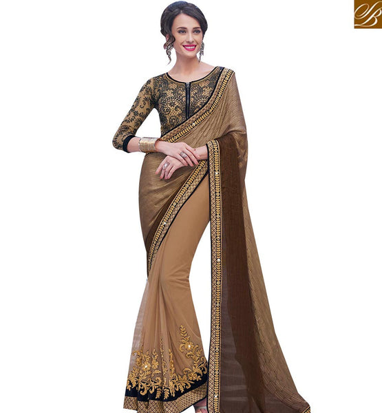 STYLISH BAZAAR MAGNIFICENT BEIGE AND BROWN NET SATIN CHIFFON DESIGNER SAREE WITH JACKET STYLE BLOUSE MHFLD8918
