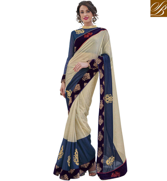 STYLISH BAZAAR CREAM AND BLUE LYCRA DESIGNER SAREE WITH GORGEOUS BORDER WORK MHFLD8920
