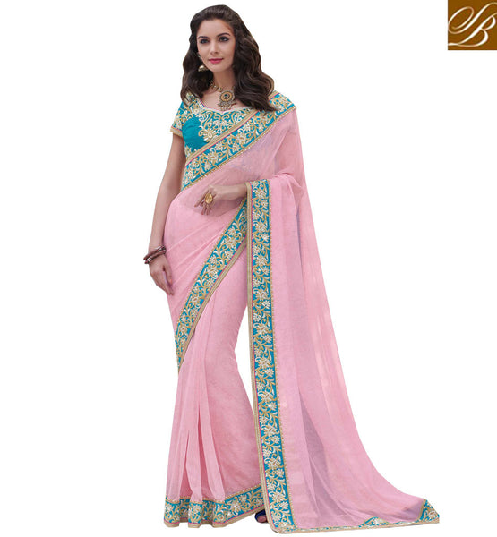 STYLISH BAZAAR STUNNING PEACH CHIFFON DESIGNER SAREE WITH FOIL PRINT AND WELL EMBROIDERED BLOUSE MHFLD8921