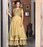 GOWN ONLINE STYLISH LOOK WEDDING WEAR BEIGE NET BRASSO JACQUARD DRESS