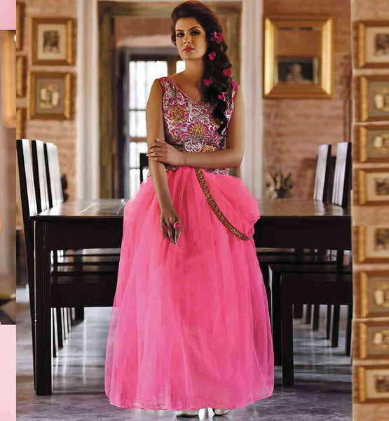 GOWN ONLINE PURCHASE AT MOST AFFORDABLE PRICE CHIC PINK NET GARMENT