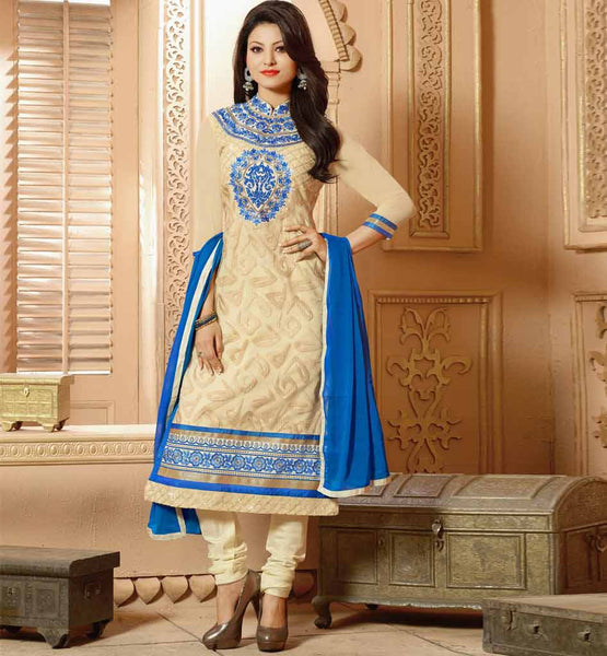 EMBROIDERED HIGH NECK STYLE PARTY WEAR ANARKALI SALWAR SUIT 2015 | DESIGNER EMBROIDERED HIGH NECK PATTORN PARTY WEAR SALWAR KAMEEZ DRESS