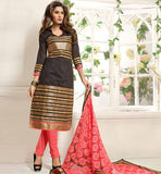 BLACK CASUAL WEAR CHANDERI COTTON SALWAR KAMEEZ WITH NAZNEEN DUPATTA VDANT7008