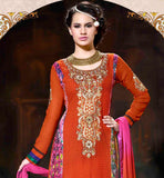 OUTSTANDING ORANGE KARACHI STYLE WOMEN'S PARTY WEAR SALWAR KAMEEZ