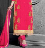PAKISTANI KARACHI STYLE SALWAR KAMEEZ WITH SAME COLOR CHURIDAR SALWAR AND NAZNEEN CHIFFON LACAE BORDREED DUPATTA