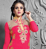 PEPPY PINK SALWAR SUIT FOR PARTY WEAR EMBRODIERY ON NECK YOKE DETAILING