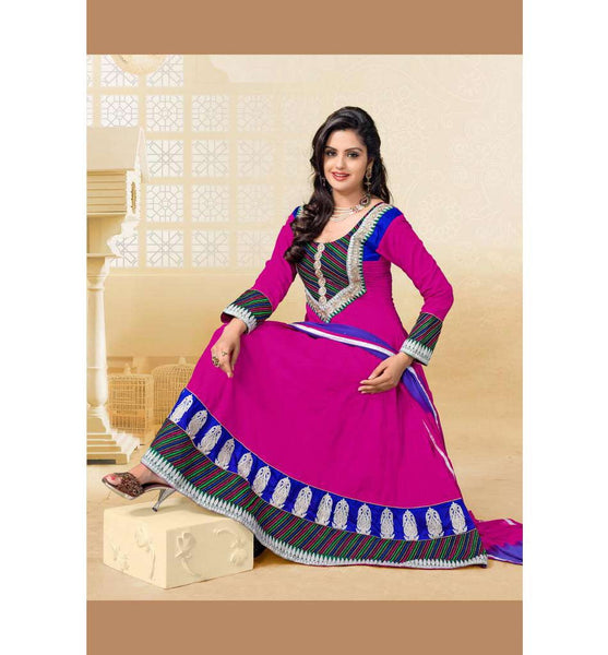 PLEASING PINK COTTON ANARKALI SALWAR SUIT RTAL8