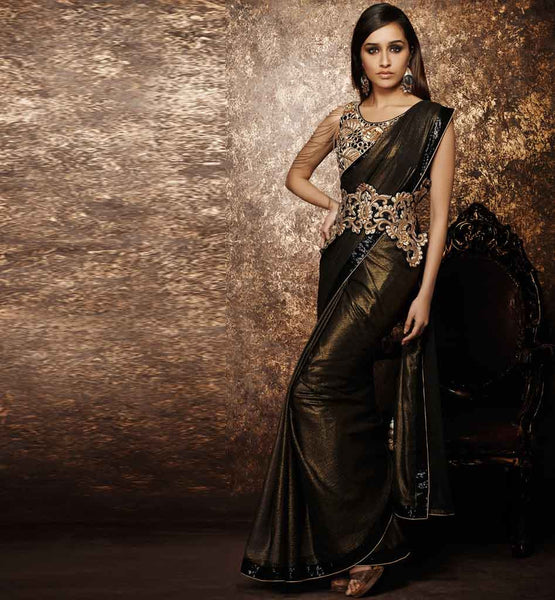 SHIMMER GEORGETTE PARTY WEAR DESIGNER SAREE ONLINE SHOPPING INDIA