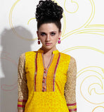 Yellow and Cream party wear cotton salwar kameez shop online
