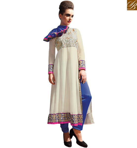 ARRESTING OFF WHITE GEORGETTE PARTY WEAR ANARKALI DRESS RTASM8