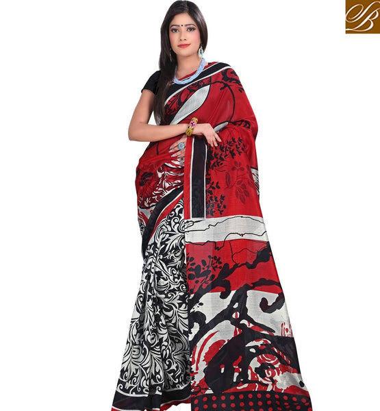 PRINTED DESIGNER SAREE WITH TIE BACK BLOUSE RTVAN8 by RED  &  BLACK