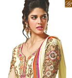 STYLE ICON DESIRABLE CREAM GEORGETTE SALWAR KAMEEZ FOR WEDDINGS MJDS9