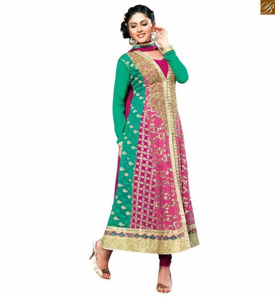Pink and green designer georgette salwar kameez pink and green zari, heavy embroidered and stone worked eye-catching salwar kameez. This dress has front side heavy work looking glamorous Image