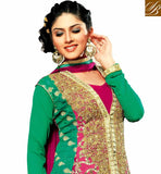 GREEN AND PINK GEORGETTE ANARKALI WITH SANTOON SALWAR AND CHIFFON DUPATTATHE DRESS HAS RICH ZARI WORK ALL OVER IT AND COOL COLOR COMBINATION