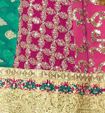 You can make it churidar style. Dupatta is also of matching pink color and has lace border Pic
