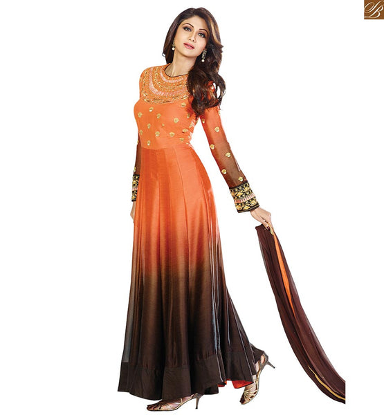 STYLISH BOLLYWOOD ACTRESS IN ETHNIC SALWAR SUITS STUNNING BEAUTY SHILPA SHETTY LONG ANARKALI DRESS