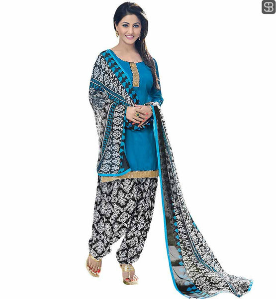 BOLLYWOOD ACTRESS IN SALWAR KAMEEZ OF BEST TRADITIONAL PUNJABI DRESS PATTERNS  TELEVISION CELEBRITY HINA KHAN BLUE TOP WITH PRINTED PATIALA SALWAR AND DUPATTA