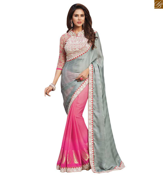 STYLISH BAZAAR BEAUTIFUL HEAVY DESIGNER PINK BLOUSE TEAMED WITH HALF AND HALF SAREE RTBAJ9001