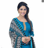 TELEVISION CELEBRITY HINA KHAN BLUE TOP WITH PRINTED PATIALA SALWAR AND DUPATTA COTTON DRESS WITH PIPING ON THE NECKLINE, COPPER COLOR LACE PATCH AT NECK  AND CHIFFON ODHNI