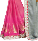FROM THE HOUSE  OF STYLISH BAZAAR BEAUTIFUL HEAVY DESIGNER PINK BLOUSE TEAMED WITH HALF AND HALF SAREE RTBAJ9001